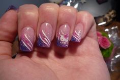 Purple, Pink, Glitter gradient nail art with Hello Kitty accent nail art