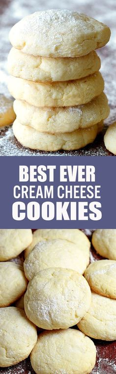 Soft, chewy, irresistible Crem Cheese Cookies and did I mention EASY? Köstliche Desserts, Delicious Desserts, Dessert Recipes, Yummy Food, Weight Watcher Desserts, Yummy Cookies, Yummy Treats, Baking Recipes, Cookie Recipes