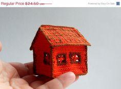 ON SALE Miniature  orange crochet little house  by GogaSmile