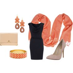 """""""navy dress & coral accessories"""" by delfica on Polyvore"""