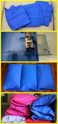 Pillowcase Mat -  Materials/Cost all purchased from Kmart 3 pillowcases $3 ea  Pillows $4 ea  Pillowcase protectors $3 ea Total cost per mat $30 each put snap or button to close pillows on each end for easy washing...