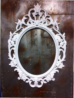 Gloss White Skulls Oval  Picture Frame Mirror  Shabby Chic Baroque Gothic Victorian Tattoo