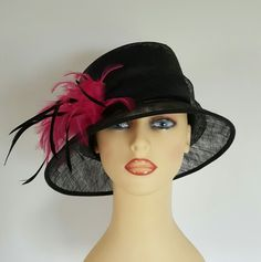 Ladies Wedding Hat Races Mother Bride Ascot Hat Black & Pink Feathers by Linea