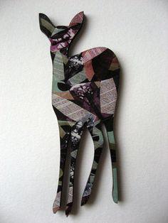 Beautiful patterned laser cut deer bambi brooch