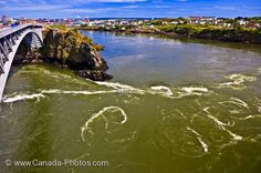 Photo of the swirling water of the Reversing Falls in the Saint John River in New Brunswick, Canada.
