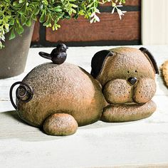 Resting Dog Stone - TerrysVillage.com