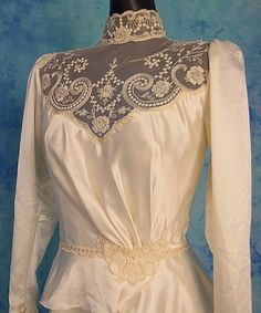 OMG! ViNTAGE 70s IVORY LACE PEARL BEADED ViCTORiAN MAXi PRAiRiE WEDDiNG DRESS S | eBay