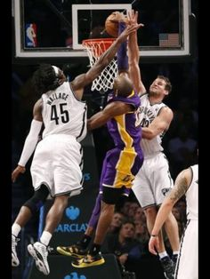 """I think everyone has been drinking the Kobe pass Kool-Aid so they kind of stayed on the perimeter like the Red Sea. I felt a little like Moses."""" -- Kobe Bryant, on his drive for a thunderous dunk on the Nets. Nba Players, Basketball Players, Basketball Legends, Basketball Wall, Basketball Drills, Basketball Pictures, Los Angeles Lakers, Kobe Bryant Dunk, Nike Inspiration"""