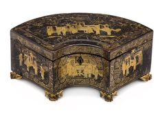 A Chinese export lacquer crescent form tea caddy enclosing two pewter canisters mid 19th century
