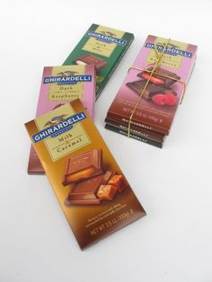 3 Pack Ghirardelli Block Chocolate Candy Bars - 1 Each Dark Raspberry, Milk Chocolate with Caramel