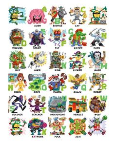 BROTHERTEDD.COM - Get this TMNT themed alphabet print from Luke... Ninja Turtles Cartoon, Teenage Mutant Ninja Turtles, Flowers Today, Alphabet Print, Tmnt, Digital Prints, Marvel, Hero, Fingerprints