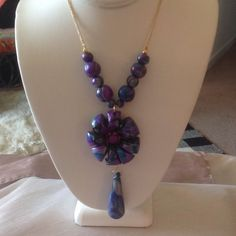 """Handmade Polymer Clay Necklace Handmade by me....Polymer Clay 36"""" Necklace!  Looks great with sweaters, Tunics, Dresses too! JewelryByShari Jewelry Necklaces"""