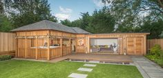 pavillion garten insulated Garden room Crown Pavilions specialise in creating garden rooms, from spas to bars, cinema rooms and kitchens. Create the perfect addition to your garden. Large Summer House, Summer House Garden, Summer Houses, Insulated Garden Room, Outdoor Garden Rooms, Garden Lodge, Pavillion, Garden Room Extensions, Small Backyard Pools