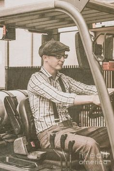 Olden Day Warehousing Work Print featuring the photograph Old Style Warehouse Worker Driving Forklift by Ryan Jorgensen