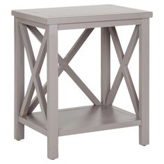 Poplar wood end table with x-openwork sides. Product: End table      Construction Material: Poplar wood    ...