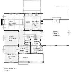 Colonial Style House Plan - 3 Beds 2.5 Baths 2758 Sq/Ft Plan #901-10 Floor Plan - Main Floor Plan - Houseplans.com