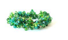 Beaded Crochet Bangle Bracelet Green Czech Glass by HappyFortune, $40.00