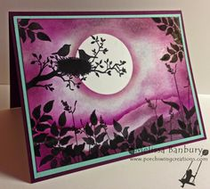 Porch Swing Creations: Blackberry Moonlight - World of Dreams stamp set meets Blackberry Bliss In Color.