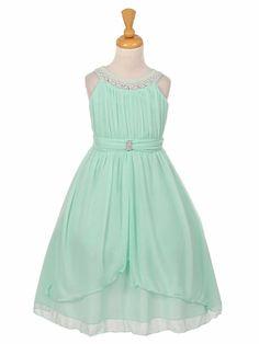 Girls Dress Style 2073 - MINT Sleeveless Chiffon Dress with Pearl and Rhinestone Neckline Green Flower Girl Dresses, Green Chiffon Dress, Toddler Flower Girl Dresses, Girls Dresses, Summer Dresses, Blush Wedding Flowers, Necklines For Dresses, Wedding Party Dresses, Ladies Dress Design