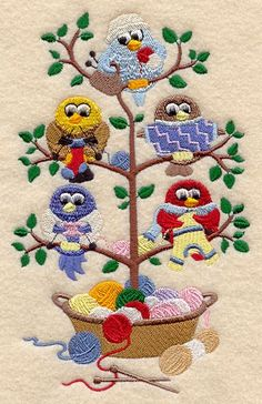 Knitting Birds in a Tree Embroidered on Hand Bath or kitchen Dish Towel
