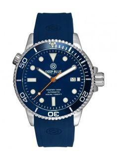 Deep Blue MASTER DIVER 1000 Auto watch Blue silicon strap Blue bezel Blue dial