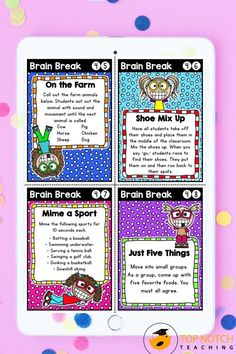 We know the importance of brain breaks to help students focus and learn. Don't waste time looking for fun and effective brain break activities. Just use these printable Brain Break Cards and fill your teacher bag of tricks with brain breaks your students will love. These 60 brain break activities were designed to help students take a short mental break, regain focus, and re-energize to get them back on track for learning. The perfect addition to any classroom management system! Teacher Bags, Your Teacher, Teaching Strategies, Teaching Tips, Mental Break, 2nd Grade Classroom, Brain Breaks, Upper Elementary, Art Activities