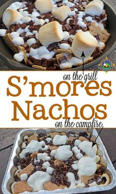 Grilled S'mores Nachos Recipe - Do you love s'mores? Make S'mores Nachos on the grill or over the campfire. camping, camping items, camping site ideas S'mores Nachos Recipe - Do you love s'mores? Make S'mores Nachos on the grill or over the campfire. Grilled Desserts, Köstliche Desserts, Delicious Desserts, Dessert Recipes, Yummy Food, Dessert Dishes, Grilled Fruit, Desserts To Make, Camping Desserts