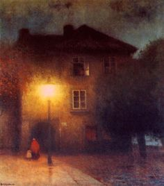 """Read the sacred writings of all the peoples on Earth. Through all of them runs, like a red thread, the hidden Science of attaining and maintaining wakefulness."" - Gustave Meyrink (Painting - Night in Old Prague (1911) - Jakub Schikaneder"