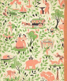 peach & green print pattern