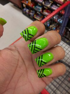 Hot lime green nails