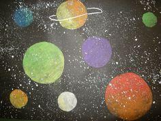 3rd Grade - Planets - Black paper, oil pastel planets, flick white paint