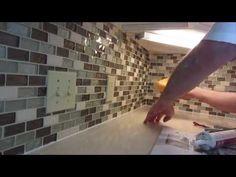 Stephanie's step by step Kitchen remodel - Step 3 installation of a new glass backsplash - YouTube