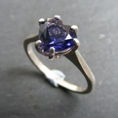 Ring in Sterling Silver With Iolite  Heart Cut Gemstone UK Size O & Half  £45.00