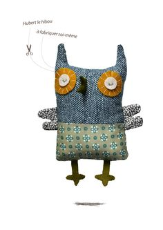 by La Sardine (a small version would make a cute Christmas ornament) Owl Fabric, Fabric Toys, Fabric Crafts, Sewing Crafts, Sewing Projects, Softies, Plush Dolls, Doll Toys, Fabric Animals