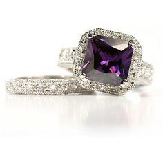 Amethyst Winston CZ Engagement Ring Set
