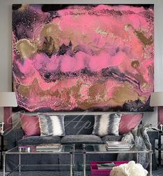 Pink, Gold And Black Abstract large canvas giclee print of original painting by Julia Apostolova, printed on 100% cotton canvas, signed and dated