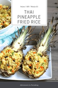 Who says you can't enjoy Pineapple Fried Rice on the AIP? You totally can with the use of cauliflower rice. The flavors in this dish will transport you to Thailand and make you feel like you're on vacation any day of the week. AIP / Paleo/ autoimmune protocol / nightshade free/ grain free/ soy free