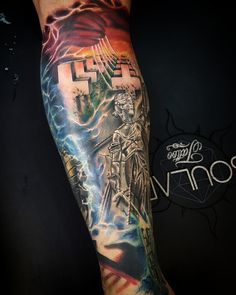f42d5bbd33713 Metallica album cover leg tattoo by Matt Parkin @ Soular Tattoo Tatuagem  Metallica, Metallica Tattoo