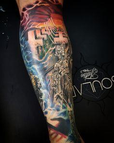 Metallica album cover leg tattoo by Matt Parkin @ Soular Tattoo