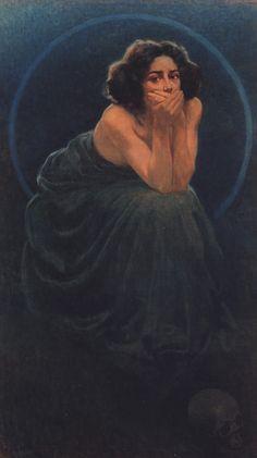 """silenceformysoul: """" Giorgio Kienerk - L'enigma umano, trittico 1900. Il Silenzio """""""