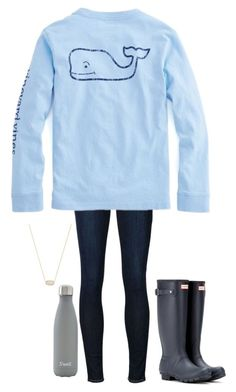 """•we do this every night•"" by simply-preppy-girl ❤ liked on Polyvore featuring Frame Denim, Hunter, S'well and Kendra Scott"