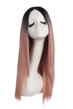 77a8d7a3 Nouveau produit : Pink long 60cm smooth wig with black roots fashion casual  fashion Vous aimez