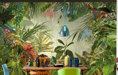 Komar Into The Wild Tropical Rain Forest Scenic Wallpaper Mural, Green, 368 x 248 cm, Set of 4 Pieces