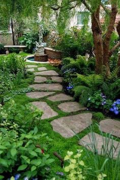 """The Flexstone Landscape Stones are an excellent addition to any landscaping property. These """"green"""" stones are eco-friendly, natural looking, fairly light and come in a variety of colors. They can easily be placed in garden walkways, courtyards, and pathways. They can also be used in poured-in-place applications. These items are easy to install. #backyardgarden #TechosOrgánicos Small Backyard Landscaping, Landscaping Tips, Backyard Ideas, Patio Ideas, Backyard Designs, Pathway Ideas, Backyard Garden Landscape, Backyard Patio, Rock Pathway"""