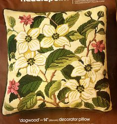 "Older Vintage Bucilla ""Dogwood"" Pillow Needlepoint KIT 
