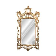 Hickory Manor House Campanello Mirror ($766) ❤ liked on Polyvore featuring home, home decor, mirrors, antique gold leaf mirror and baroque mirror