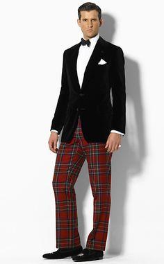 Plaid Slacks and Black Velvet Blazer by Ralph Lauren