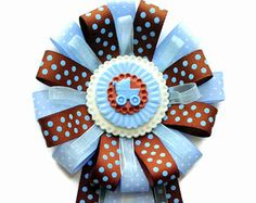 Carriage It's A Boy Theme Baby Shower Corsage Pin Keepsake - Cold Porcelain Favor Baby Boy - Lt. Blue Brown Polka Dot Ribbon Capia Mum by lezliezdesigns. Explore more products on http://lezliezdesigns.etsy.com