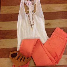 cute coral pants