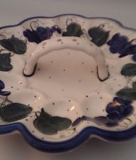 Lovely Polish Pottery Signed UNIKAT Egg Serving Plate Handled Grapes & Leaves
